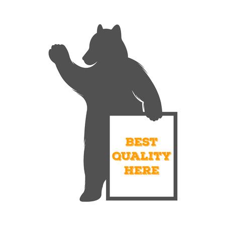 """oso: Oso Ilustraci�n de la vendimia con el signo de """"la mejor calidad aqu�"""". Tenga en un fondo blanco para el cartel y las vallas publicitarias."""