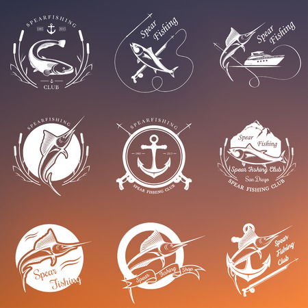 Big set of , badges, stickers and prints spearfishing. Premium vector label for spearfishing and underwater swimming - Stock Vector Vektorové ilustrace