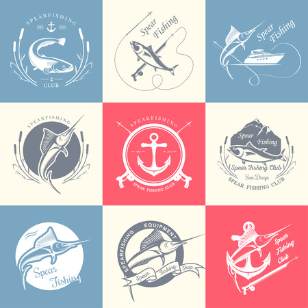 spearfishing: Big set of , badges, stickers and prints spearfishing. Premium vector label for spearfishing and underwater swimming - Stock Vector Illustration