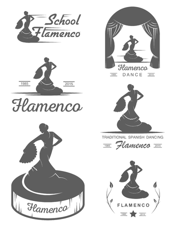 school dance: Set of vector , badges and silhouettes Flamenco. Collection emblems of traditional Spanish dance, signs school, clubs, shops and studios flamenco isolated on a white background