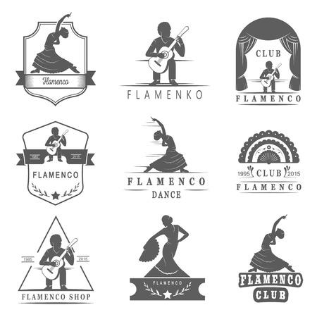 danseuse flamenco: Ensemble de vecteur, badges et silhouettes de flamenco. emblèmes de la collection de la danse traditionnelle espagnole, signe scolaires, clubs, magasins et studios Flamenco isolés sur un fond blanc Illustration