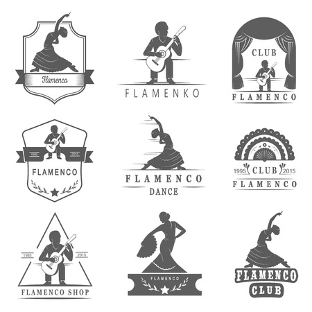 spanish woman: Set of vector , badges and silhouettes Flamenco. Collection emblems of traditional Spanish dance, signs school, clubs, shops and studios flamenco isolated on a white background
