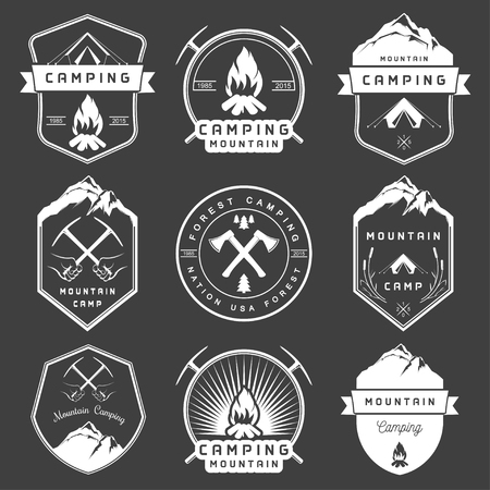 woods: Set of vector  and badges camping, hiking and outdoor activities. Collection of vintage emblems and symbols of woods camp, travel and mountain camping Illustration