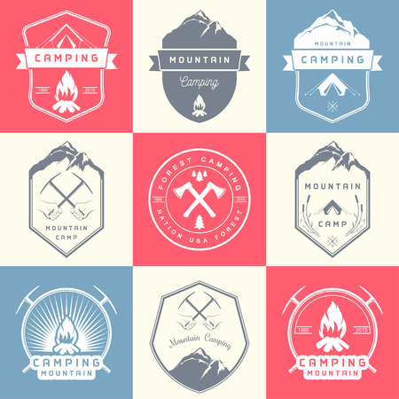 camping: Set of vector and badges camping, hiking and outdoor activities. Collection of vintage emblems and symbols of woods camp, travel and mountain camping