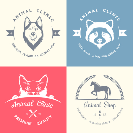 shop for animals: Set of vintage elements for pet shop, pet house, pet and exotic animals clinic. Illustration