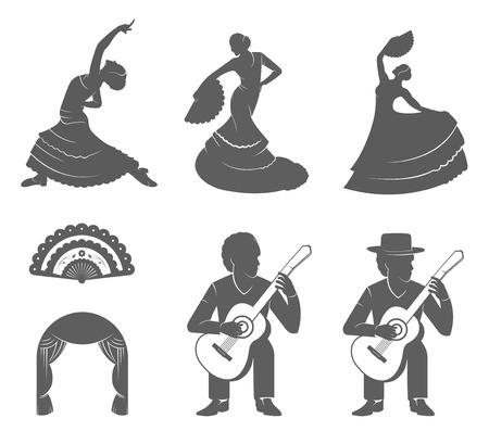 bailando flamenco: Conjunto de siluetas vector y las plantillas del flamenco aislado en un fondo blanco. Colecci�n de iconos de la danza tradicional espa�ola. Signos de bailarines, guitarristas y Ventilador