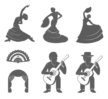 Set of vector silhouettes and templates of flamenco isolated on a white background. Collection Icons of traditional Spanish dance. Signs of dancers, guitarists and Fan Illustration
