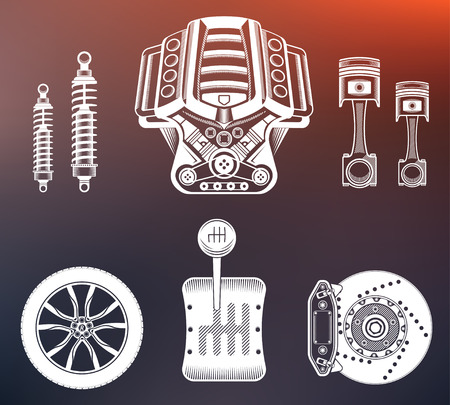 shock absorber: Vector set of parts of the machine. Engine, gearbox, shock absorber, wheel, brake pads, piston.
