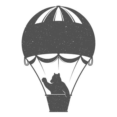 旅の熊ヴィンテージのイラストをデザインします。流行に敏感なバルーンのクマのプリントです。ポスター、ロマンチックな旅は、t シャツとデザイ