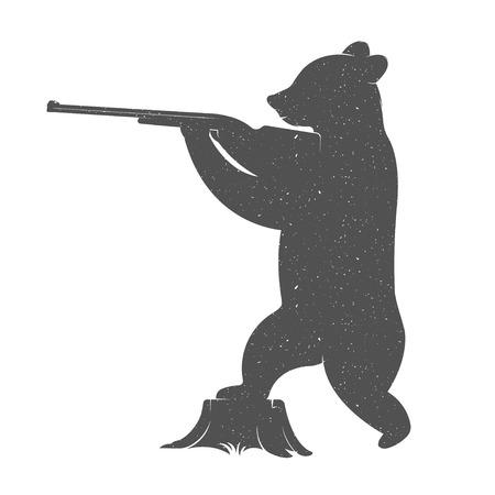 デザイン ヴィンテージ図くまのハンター。流行に敏感な銃を持つクマのプリントです。あなたのプロジェクトを設計ベクトル イラスト ポスター、