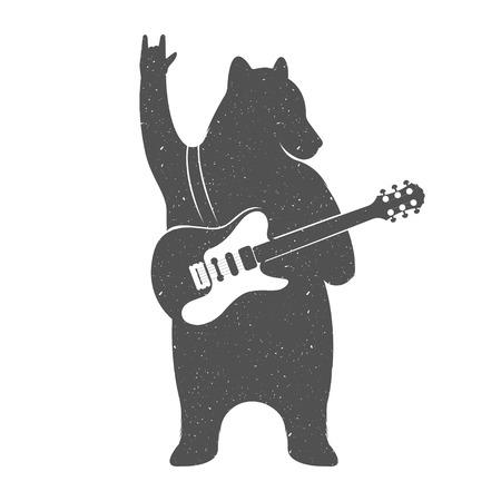 gitara: Vintage Ilustracja ponieść z gitarą - Grunge efekt. Funny Niedźwiedź muzyk z gitara samodzielnie na białym tle na plakaty, koszulki klubów muzycznych i muzycznych serwisów WWW.