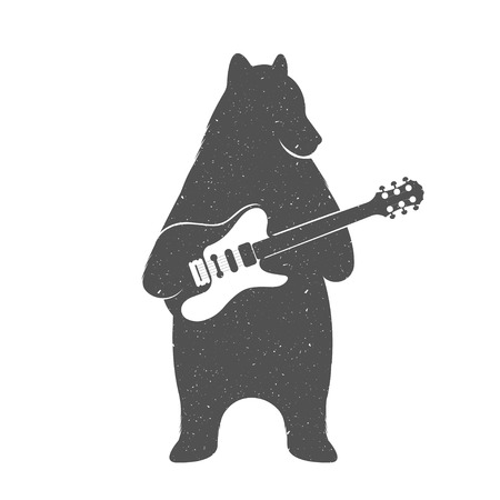 play music: Vintage Illustration bear with guitar - Grunge effect. Funny Bear musician with guitar isolated on white background for posters, T-shirts music clubs and Web music services.