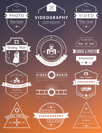 Vector collection of photography and videography  templates. Photocam, wedding and aerial footage . Photography vintage badges and icons. Modern mass media icons. Photo labels.