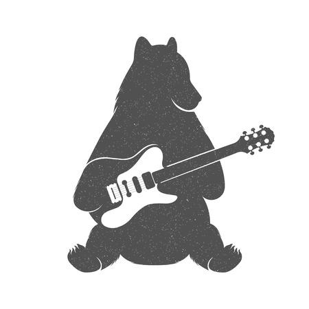 ギター - グランジ効果でヴィンテージのイラスト クマ。ポスター、t シャツ音楽クラブ、音楽の Web サービスのための白い背景で隔離のギターで面白