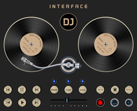 Set Dark Web UI Elements Turntable. Buttons, Switches, bars, power buttons, sliders. Vector illustration DJ Interface on Dark Isolated Background Vettoriali
