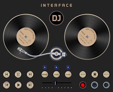 Set Dark Web UI Elementos de la placa giratoria. Botones, interruptores, barras, botones de encendido, controles deslizantes. Vector ilustración de DJ Interfaz de oscuro fondo aislado Foto de archivo - 43542716
