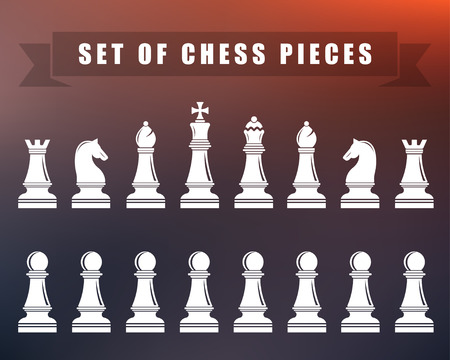 team mate: Icons of chess. Chess pieces on blur isolated background. Vector illustration.