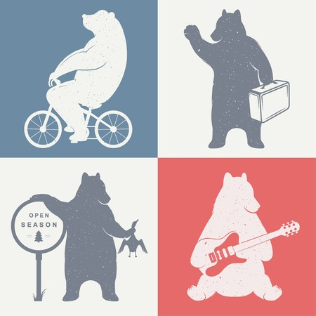funny travel: Vintage fun Illustration bear on a bike, bear hunter, travel bear and bear with musical guitar. Funny bears on a white background for posters and print T-shirts