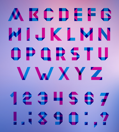 multiply: Vector Alphabet Set Fun geometric font. Vector font with overlapping strokes and mixed colours. Multiply blend mode.