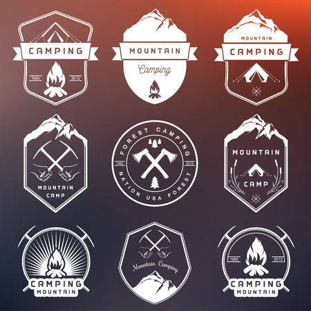Set of vector  and badges camping, hiking and outdoor activities. Collection of vintage emblems and symbols of woods camp, travel and mountain camping Illustration