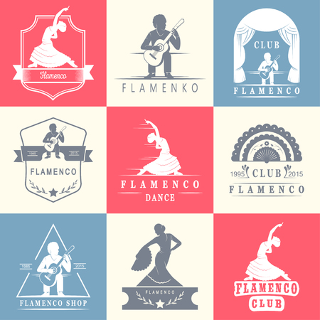 school dance: Set of vector logos, badges and silhouettes Flamenco. Collection emblems of traditional Spanish dance, signs school, clubs, shops and studios flamenco isolated on a white background
