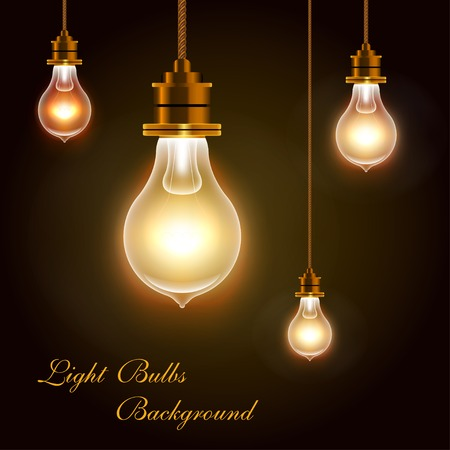 yellow bulb: Modern Vector Light Bulbs Greeting Background, eps 10 Illustration
