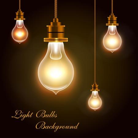 Modern Vector Light Bulbs Greeting Background, eps 10 Illustration