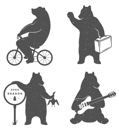 Vintage fun Illustration bear on a bike, bear hunter, travel bear and bear with musical guitar. Funny bears on a white background for posters and print T-shirts