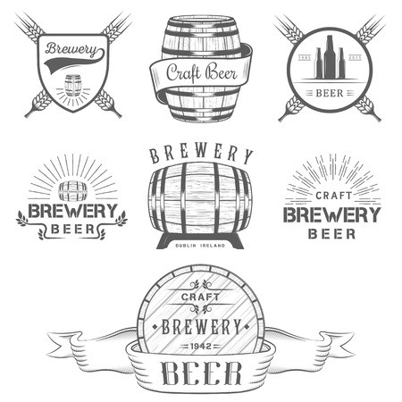 Vintage craft beer brewery , badge emblems, labels and design elements on a white background