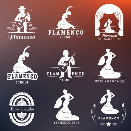 Set of vector , badges and silhouettes Flamenco. Collection emblems of traditional Spanish dance, signs school, clubs, shops and studios flamenco isolated on a white background