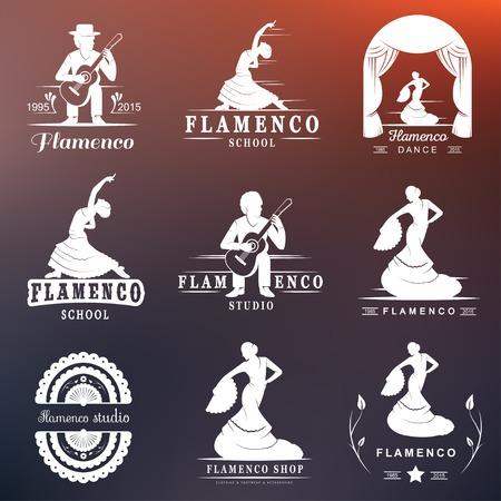 taniec: Zestaw wektora, odznaki i sylwetki flamenco. Emblematy Kolekcja tradycyjnego tańca hiszpańskiego, podpisuje szkoły, kluby, sklepy i pracownie flamenco samodzielnie na białym tle
