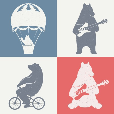 bear: Design vintage illustration Travel Bear on balloon, bear cycling and bear with guitar. Hipster print of bears. Romantic illustration for posters and prints of t-shirt Illustration