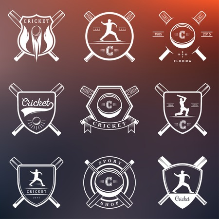 batsman: Set of vector  and badges cricket. Collection of vintage signs, symbols and emblems sports game of cricket on a white isolated background. Set of cricket team emblem design elements