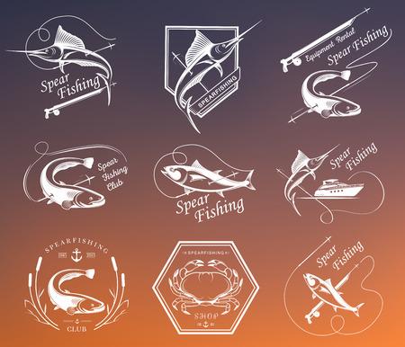 バッジ、ステッカーやプリントのスピアフィッシングの大きなセット。スピアフィッシングと水中水泳 - 株式ベクトルのプレミアム ベクトル ラベル