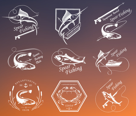 Big set of , badges, stickers and prints spearfishing. Premium vector label for spearfishing and underwater swimming - Stock Vector Ilustração