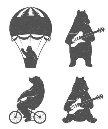 bicicleta retro: Diseño del vintage del viaje del oso en el globo, llevar la bicicleta y dar con la guitarra. Impresión del inconformista de los osos. Ilustración romántica para los carteles y las impresiones de la camiseta Vectores