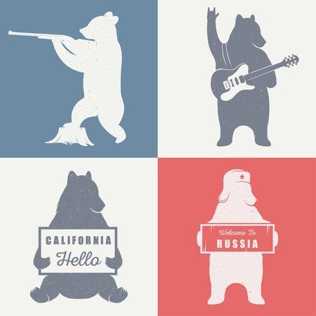 the hunter: Oso autostop divertido con el signo de California y Rusia signo sobre un fondo blanco para vallas publicitarias, carteles y camisetas. Cazador Ilustraci�n oso de la vendimia y el guitarrista oso