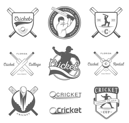 symbol sport: Set von Vektor-und Abzeichen Cricket. Sammlung von Vintage-Zeichen, Symbole und Embleme Sport Spiel der Cricket auf einem weißen Hintergrund isoliert. Set von Cricket-Team Emblem Design-Elemente