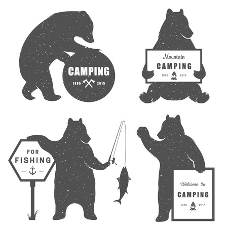 sport fishing: Vintage Illustration bear with sign camping - Grunge effect. Funny Bear with symbol Camp and For Fishing isolated on white background for posters, camp clubs and Web emblems