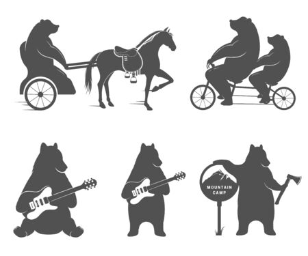 chariot: Vector Illustration Bear on a tandem bike, guitar and camp on a white background. Bear Symbol for T-shirts print, labels, badges, stickers and  Illustration