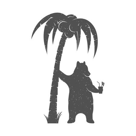 Vector Illustration Bear resting under a palm tree with a cocktail on a white background. Bear Symbol Can be used for T-shirts print, labels, badges, stickers and logo