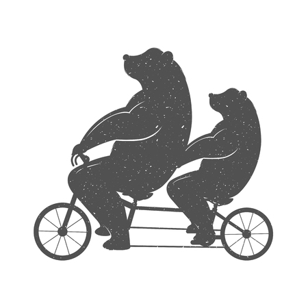 Vector Illustration Bear on a tandem bike on a white background. Bear Symbol Can be used for T-shirts print, labels, badges, stickers and logotypes
