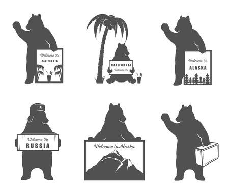 벡터 일러스트 레이 션 로그인 곰 캘리포니아, 러시아에 오신 것을 환영합니다 및 흰색 배경에 여행. T- 셔츠 인쇄, 레이블, 배지, 스티커 및 로고에 대  일러스트