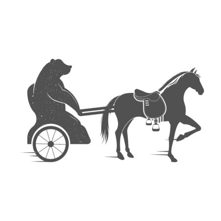 chariot: Vector Illustration Bear on a chariot and horse on a white background. Bear Symbol Can be used for T-shirts print, labels, badges, stickers and logotypes