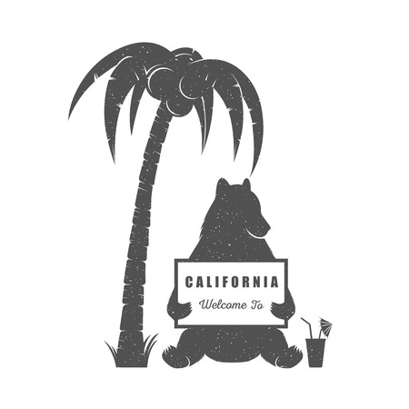logotypes: Vector Illustration Bear with sign Welcome to California on a white background. Bear Symbol Can be used for T-shirts print, labels, badges, stickers and logotypes Illustration