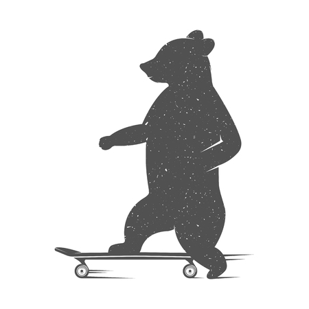 Vector Illustration Bear to skateboard on a white background. Bear Symbol Can be used for T-shirts print, labels, badges, stickers and logotypes Illustration
