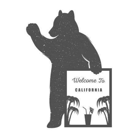 Vector Illustration Bear With Sign Welcome To California Palm