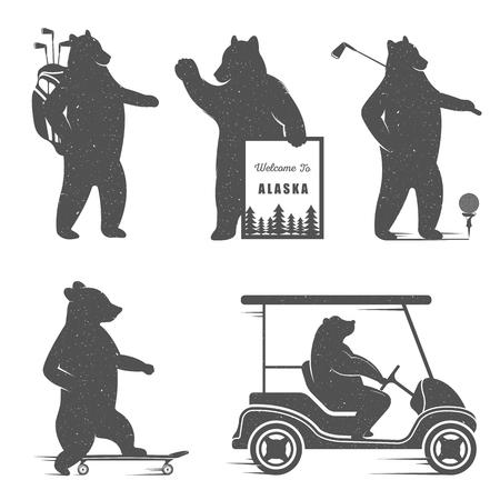 oso: Ilustraci�n vectorial Bear Golf, Pat�n sobre un fondo blanco. S�mbolo del oso de camisetas impresas, etiquetas, insignias, pegatinas y logotipos
