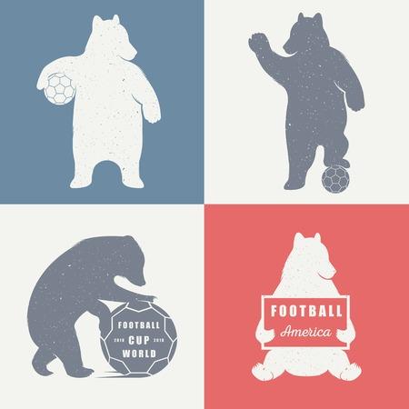oso: Ilustraci�n del vector del oso de f�tbol sobre un fondo blanco. Oso s�mbolo puede ser utilizado para la impresi�n de camisetas, etiquetas, insignias, pegatinas, logotipos ilustraci�n vectorial Vectores