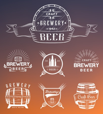 brewery: Vintage craft beer brewery logo, badge emblems, labels and design elements on a white background